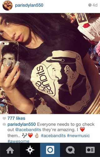 Parisdylan550 promoting Ace Bandits T-shirt on instagram